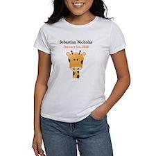 CUSTOM Giraffe w/Baby Name and Birthdate T-Shirt