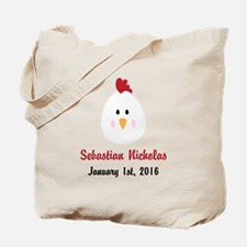 CUSTOM Chicken w/Baby Name and Birthdate Tote Bag