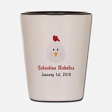 CUSTOM Chicken w/Baby Name and Birthdate Shot Glas