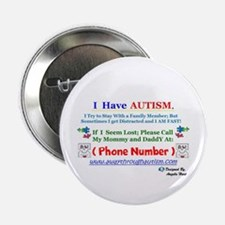 "Personalized Lost Person With Autism 2.25"" Bu"