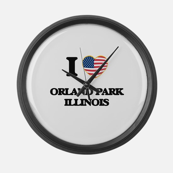 I love Orland Park Illinois Large Wall Clock