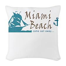 Miami Beach Sailing Woven Throw Pillow