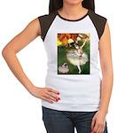 Dancer 1 & fawn Pug Women's Cap Sleeve T-Shirt