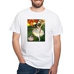 Dancer 1 & fawn Pug White T-Shirt