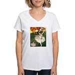 Dancer 1 & fawn Pug Women's V-Neck T-Shirt