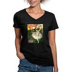 Dancer 1 & fawn Pug Women's V-Neck Dark T-Shirt