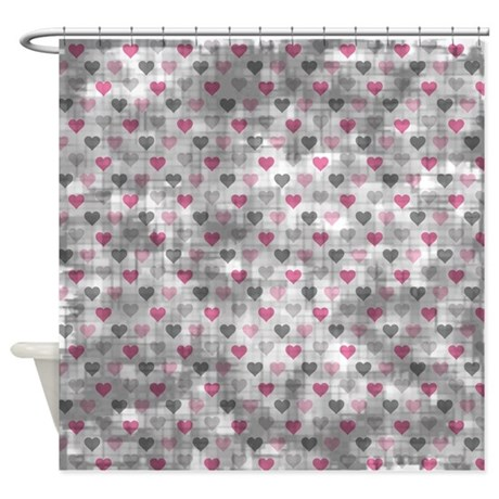 Vintage Pink And Grey Hearts Shower Curtain By Coolprintsandpatterns