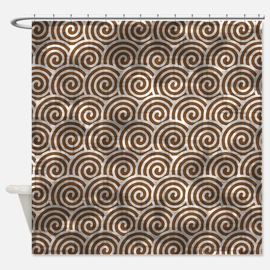 Vintage Brown Swirls Shower Curtain