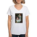 Ophelia / Fawn Pug Women's V-Neck T-Shirt