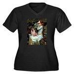 Ophelia / Fawn Pug Women's Plus Size V-Neck Dark T