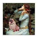Ophelia / Fawn Pug Tile Coaster