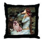 Ophelia / Fawn Pug Throw Pillow