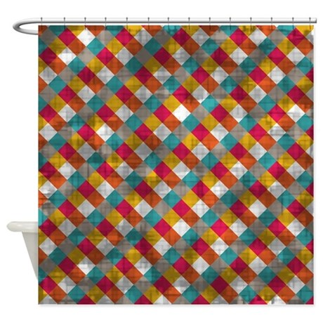 Vintage Bright Crosshatch Shower Curtain By Coolprintsandpatterns