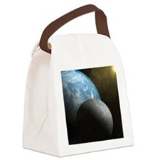 Earth and Moon Canvas Lunch Bag