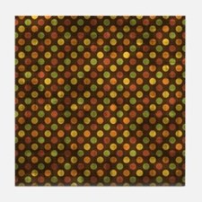 Vintage Fall Polka Dots Tile Coaster