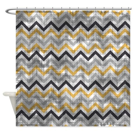 Vintage Blue And Gold Chevron Shower Curtain By