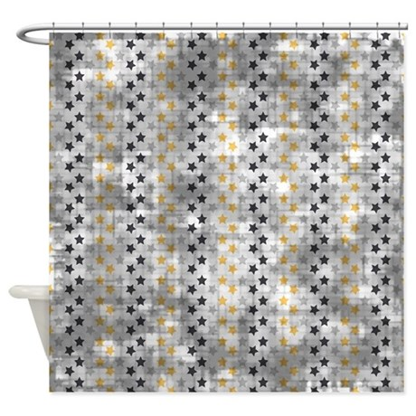 Vintage Blue And Gold Stars Shower Curtain By