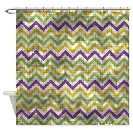 Vintage Purple Green Yellow Chevron Shower Curtain