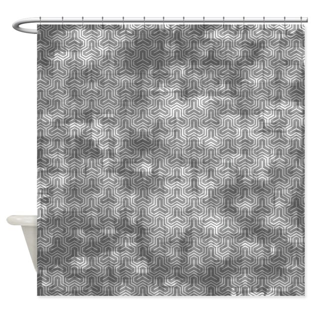 Vintage Grey Geometric Pattern Shower Curtain By Coolprintsandpatterns