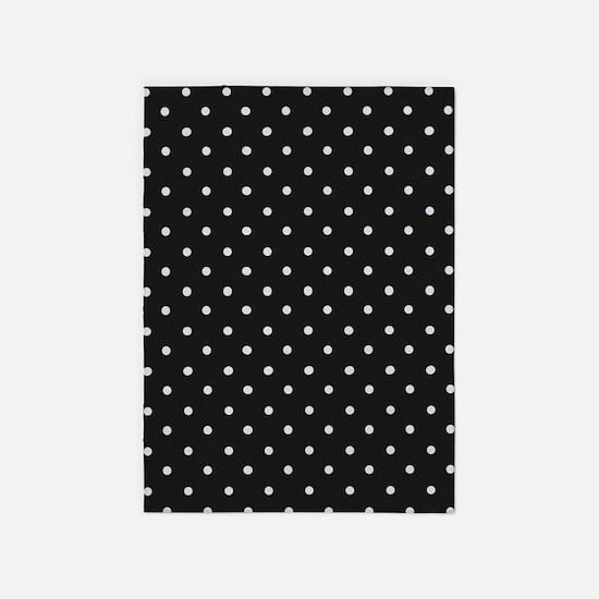 Black and White Polka Dot 5'x7'Area Rug