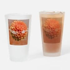 Surreal Coral Colour Dahlia Drinking Glass