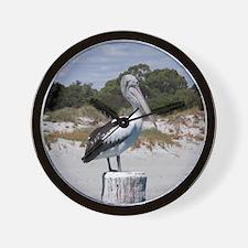 Pelican Standing on Watch Wall Clock