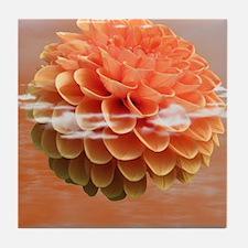 Surreal Coral Colour Dahlia Tile Coaster