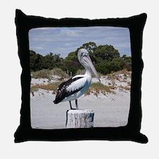 Pelican Standing on Watch Throw Pillow