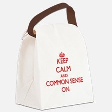 Keep Calm and Common Sense ON Canvas Lunch Bag