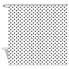 White and Black Polka Shower Curtain