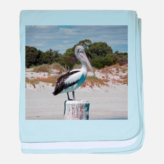 Pelican Standing on Watch baby blanket