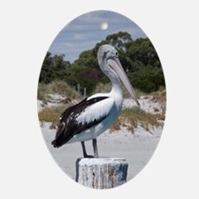 Pelican Standing on Watch Ornament (Oval)