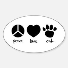Unique Peace love cats Sticker (Oval)