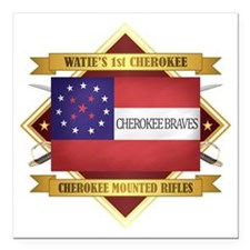 "Cherokee Mounted Rifles Square Car Magnet 3"" x 3"""