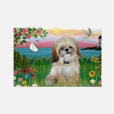 Lighthouse Scene & Shih Tzu Rectangle Magnet