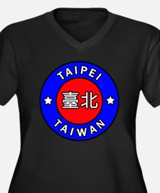 Taiwan Women's Plus Size V-Neck Dark T-Shirt