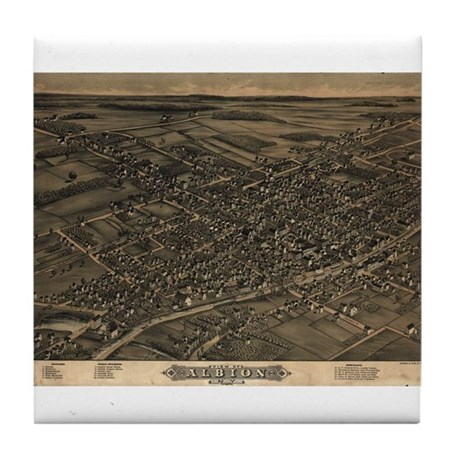 Map of Albion, N.Y., 1880 Tile Coaster