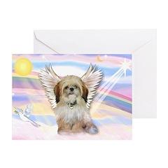 Angel Shih Tzu in Clouds Greeting Card