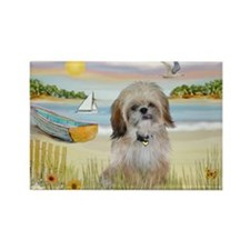 Beach with Shih Tzu Rectangle Magnet