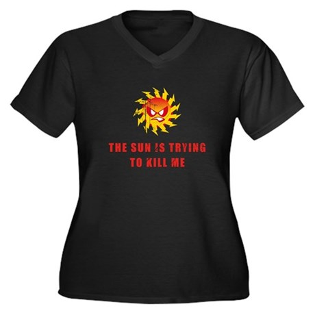 Sun Women's Plus Size V-Neck Dark T-Shirt