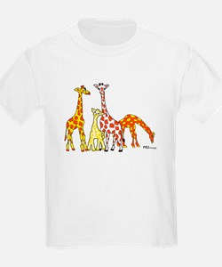Giraffe Family Portrait in Oranges and Yellows T-S