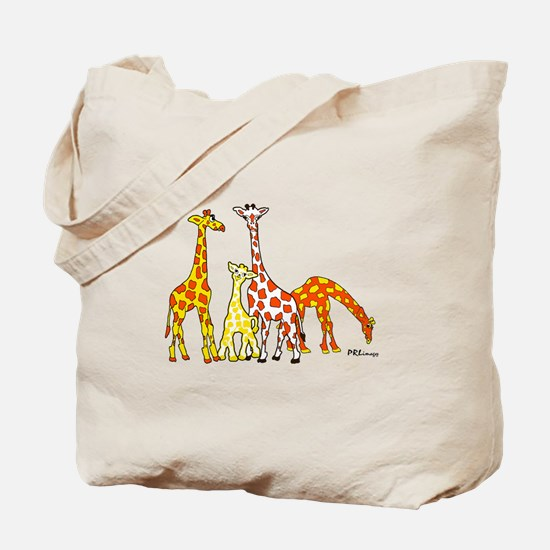 Giraffe Family Portrait in Oranges and Yellows Tot