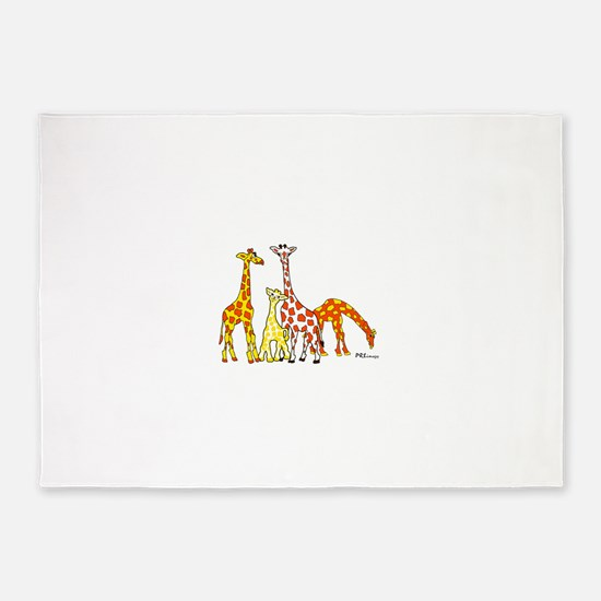 Giraffe Family Portrait in Oranges and Yellows 5'x