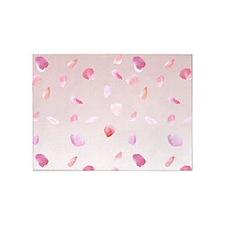 Pink Rose Petals 5'x7'area Rug