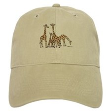Giraffe Family Portrait In Browns And Beige Baseball Baseball Cap