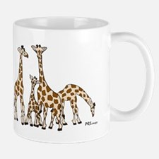 Giraffe Family Portrait in Browns and Beige Mugs