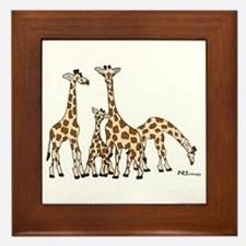 Giraffe Family Portrait In Browns And Framed Tile