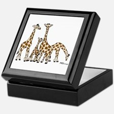 Giraffe Family Portrait In Browns And Keepsake Box