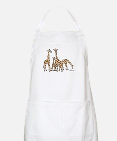 Giraffe Family Portrait in Browns and Beige Apron