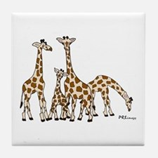 Giraffe Family Portrait In Browns And Tile Coaster
